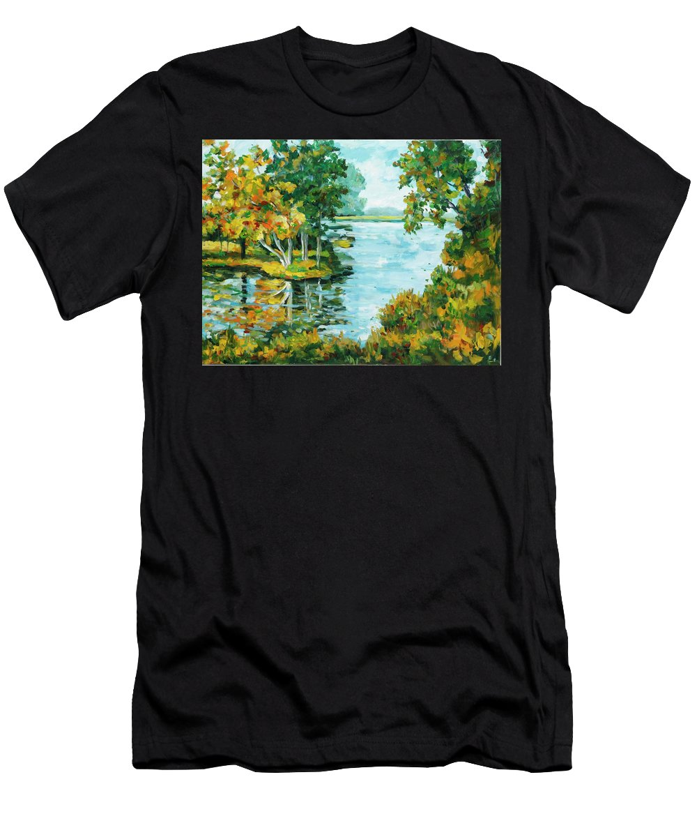 Landscape Men's T-Shirt (Athletic Fit) featuring the painting Inlet by Ingrid Dohm