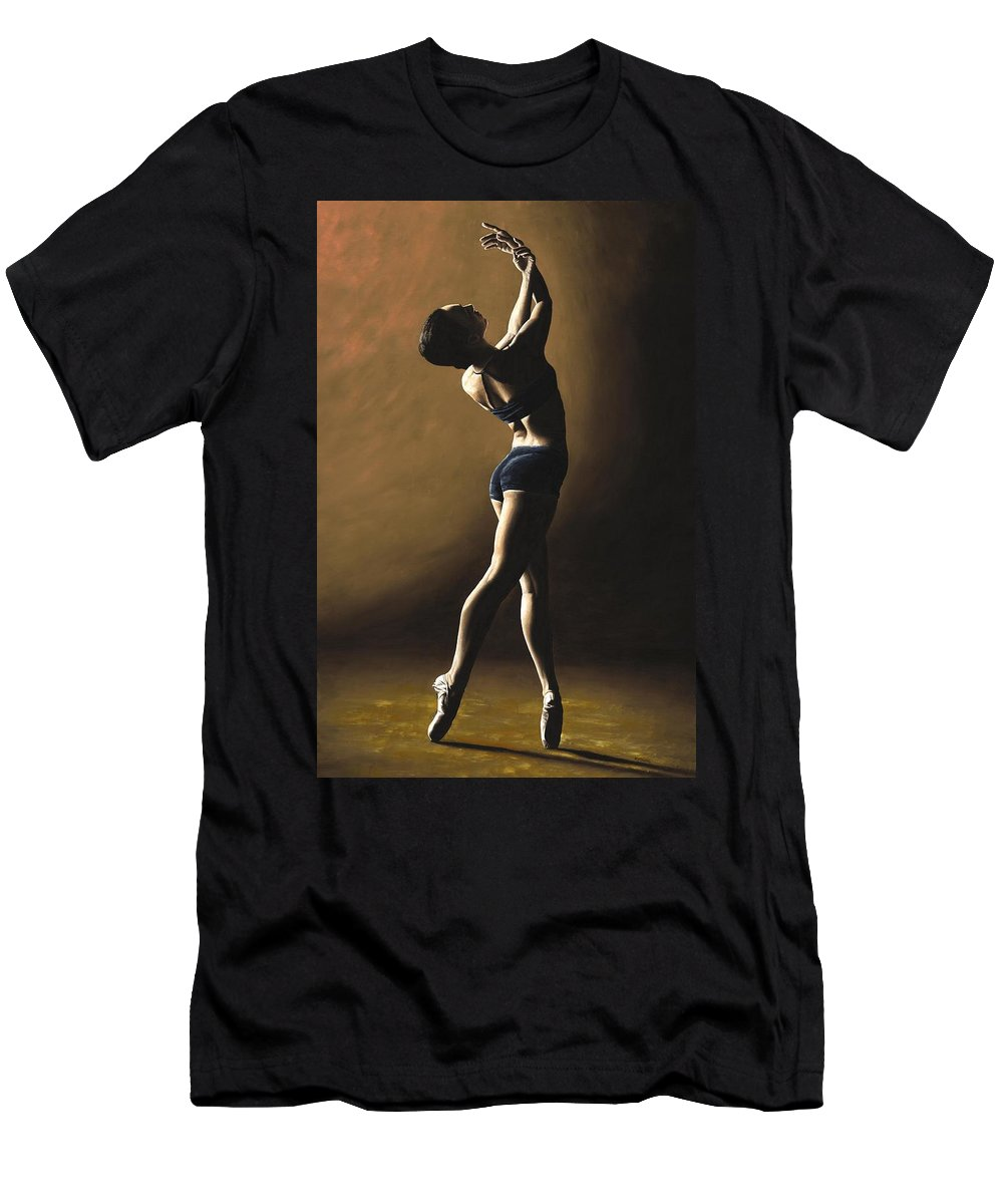 Dance Dancer Dancing Modern Female Woman Lady Girl Pointe Shadow Light Beauty Beautiful Young Art Men's T-Shirt (Athletic Fit) featuring the painting Inner Sanctuary by Richard Young