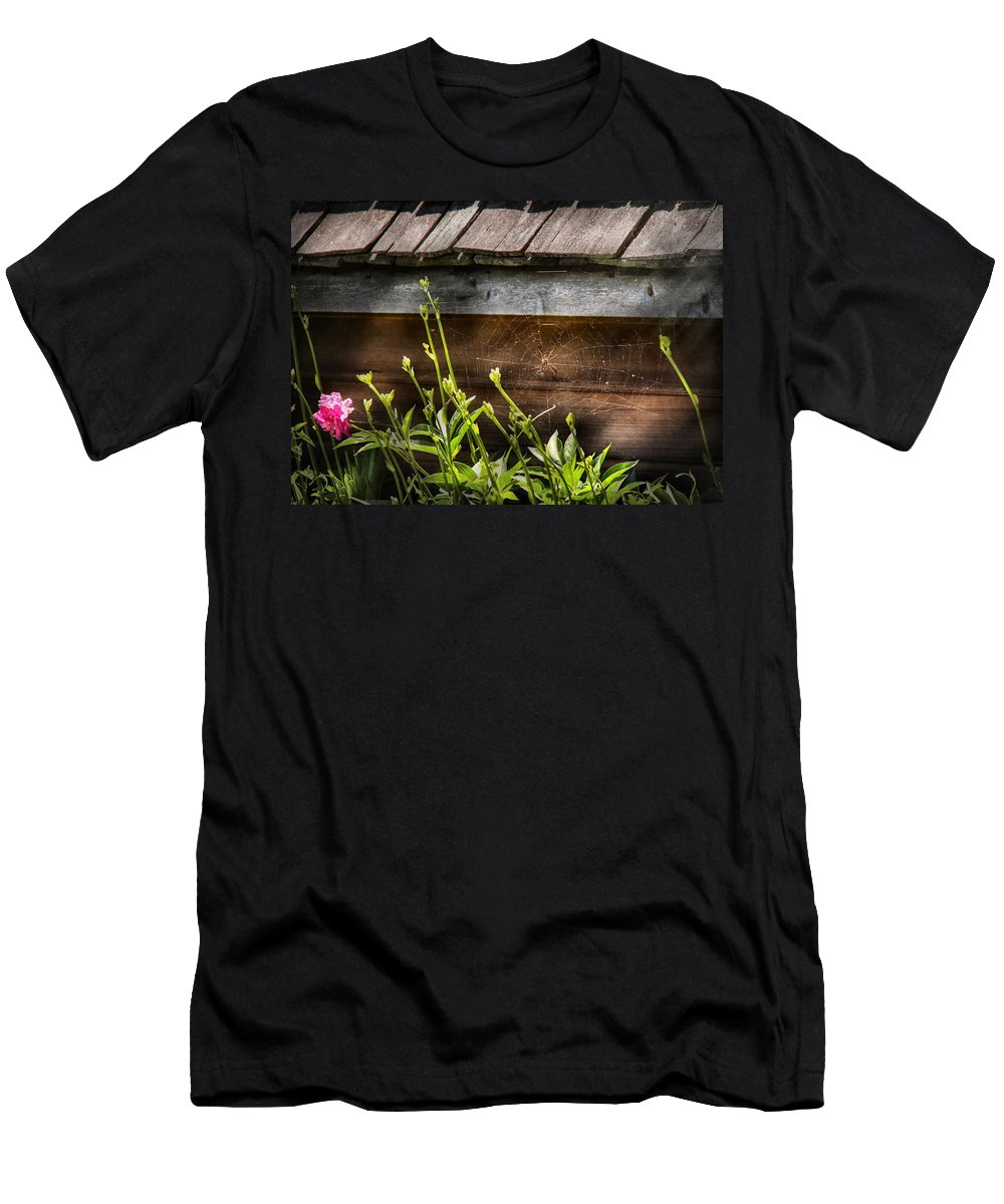 Suburbanscenes Men's T-Shirt (Athletic Fit) featuring the photograph Insect - Spider - Charlottes Web by Mike Savad