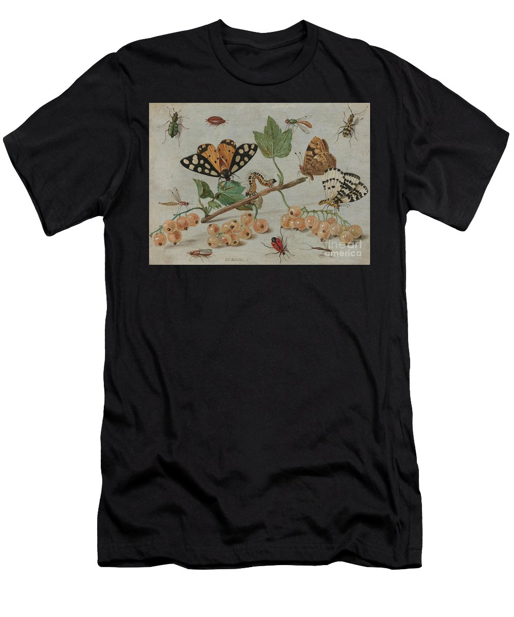 Flemish Men's T-Shirt (Athletic Fit) featuring the painting Insects And Fruit, by Jan Van Kessel