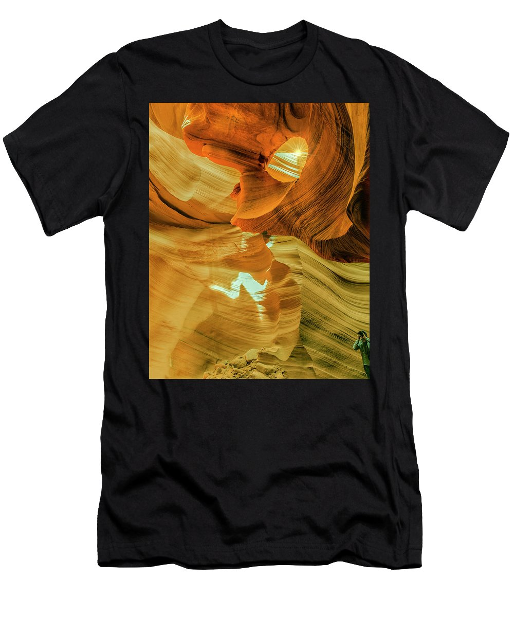 Antelope Canyon Men's T-Shirt (Athletic Fit) featuring the photograph Insignificance Of Man by Gabriel Jardim