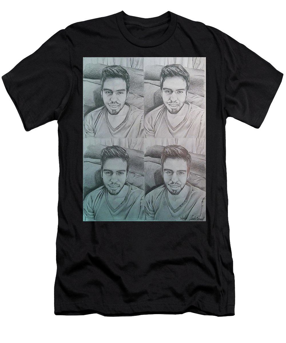 Drawing Men's T-Shirt (Athletic Fit) featuring the drawing Instagram Portrait by Carola Moreno