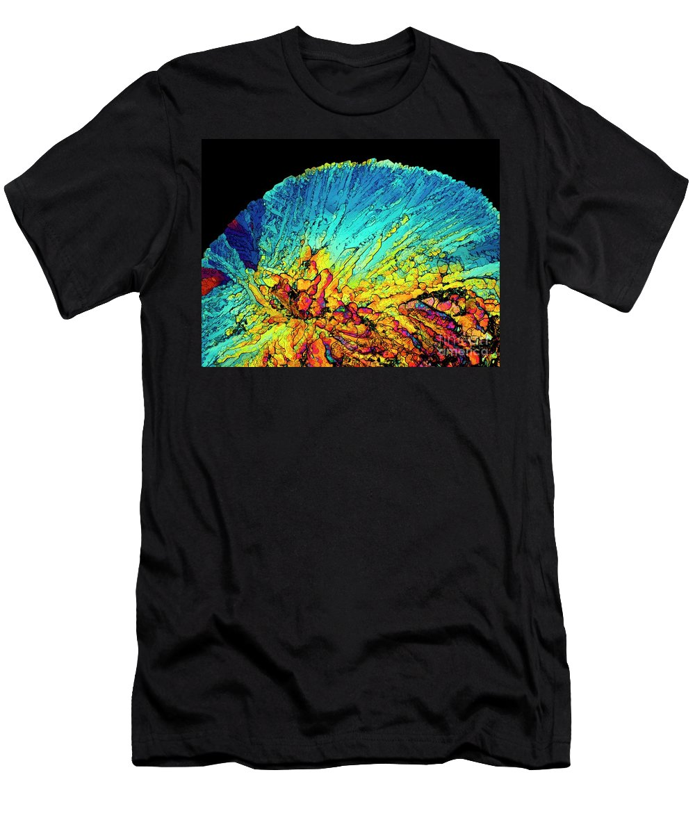 Amino Acid Men's T-Shirt (Athletic Fit) featuring the photograph Insulin Crystals Light Micrograph by Alfred Pasieka SPL
