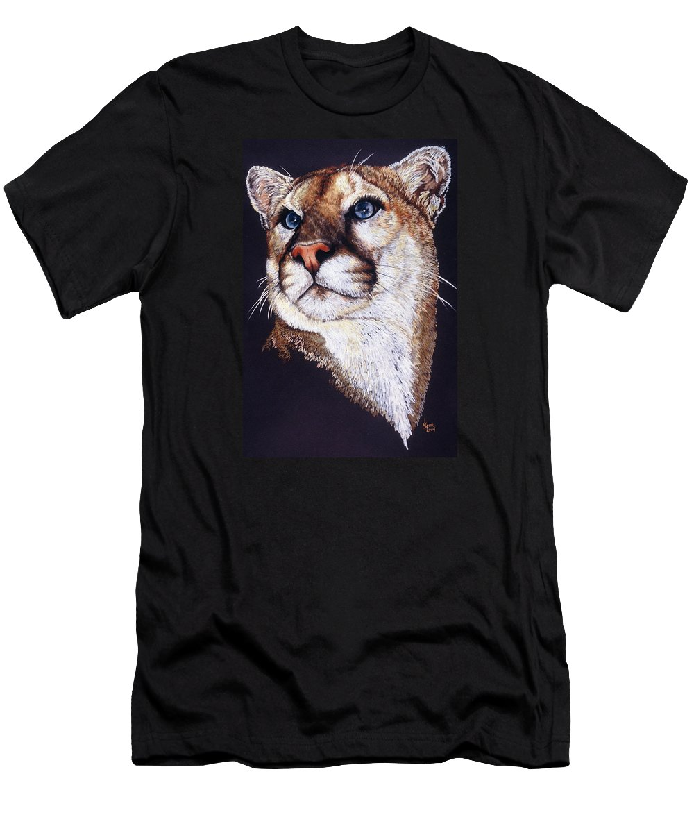 Cougar Men's T-Shirt (Athletic Fit) featuring the drawing Intense by Barbara Keith