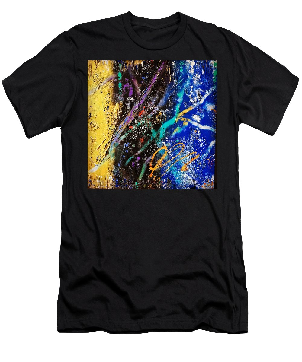 Abstract Men's T-Shirt (Athletic Fit) featuring the mixed media Intensity by Michael Walters