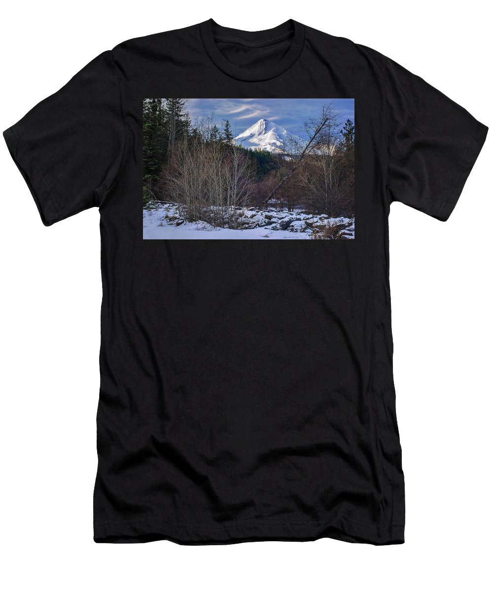 Volcano Men's T-Shirt (Athletic Fit) featuring the photograph Intimate Hood by John Christopher