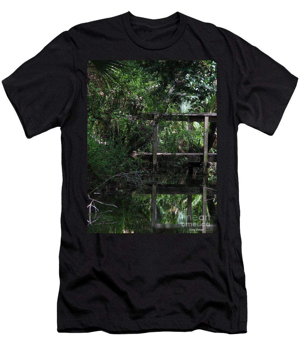 Woods Men's T-Shirt (Athletic Fit) featuring the photograph Into Green by Greg Patzer