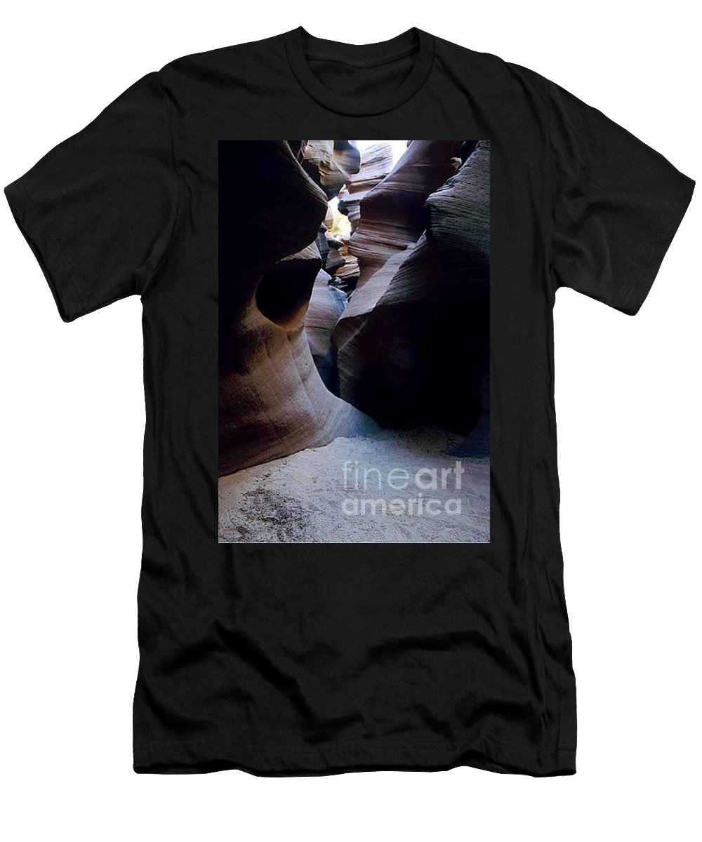 Slot Canyons Men's T-Shirt (Athletic Fit) featuring the photograph Into The Depths by Kathy McClure