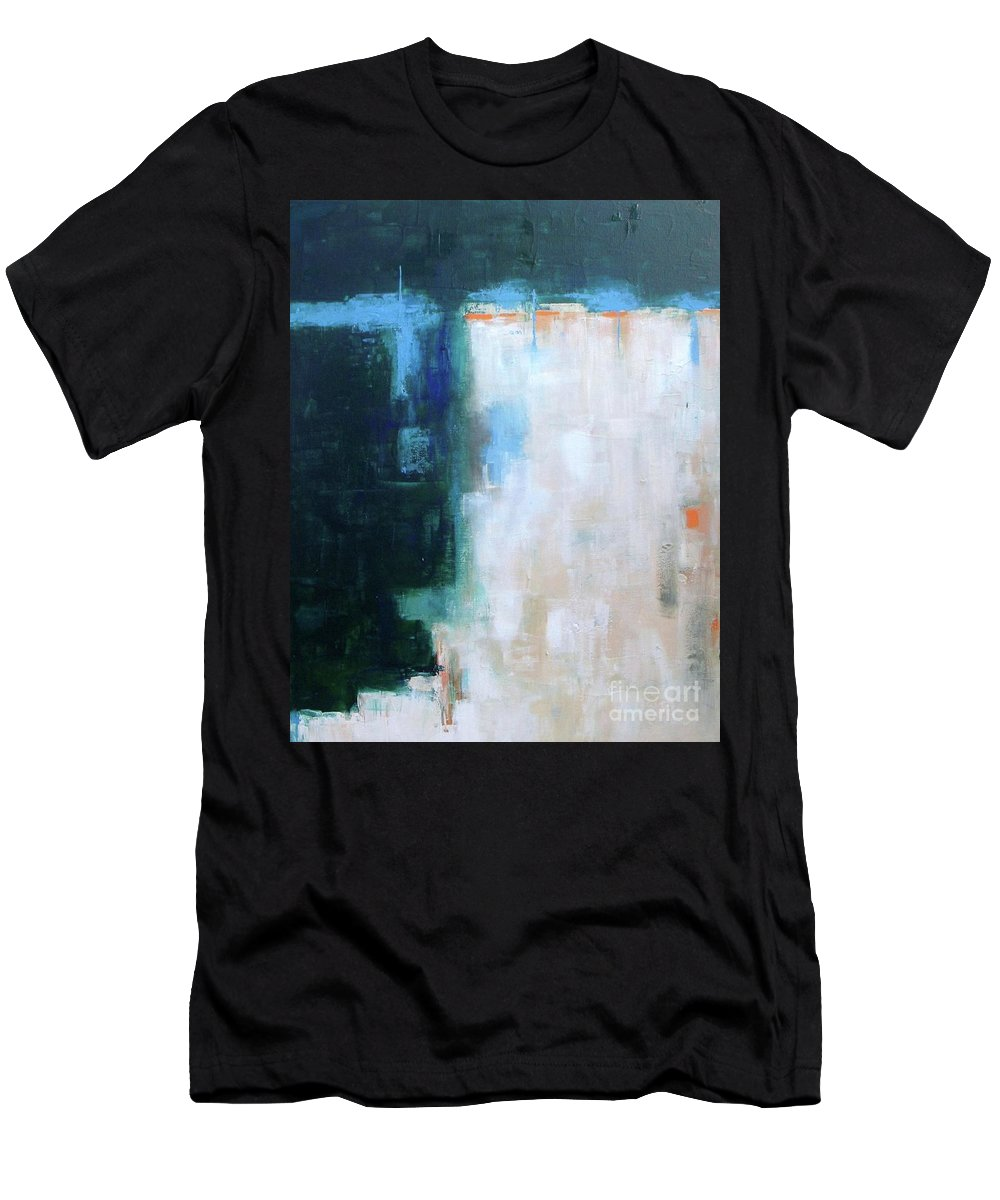 Abstract Men's T-Shirt (Athletic Fit) featuring the painting Into The Navy Blue by Vesna Antic
