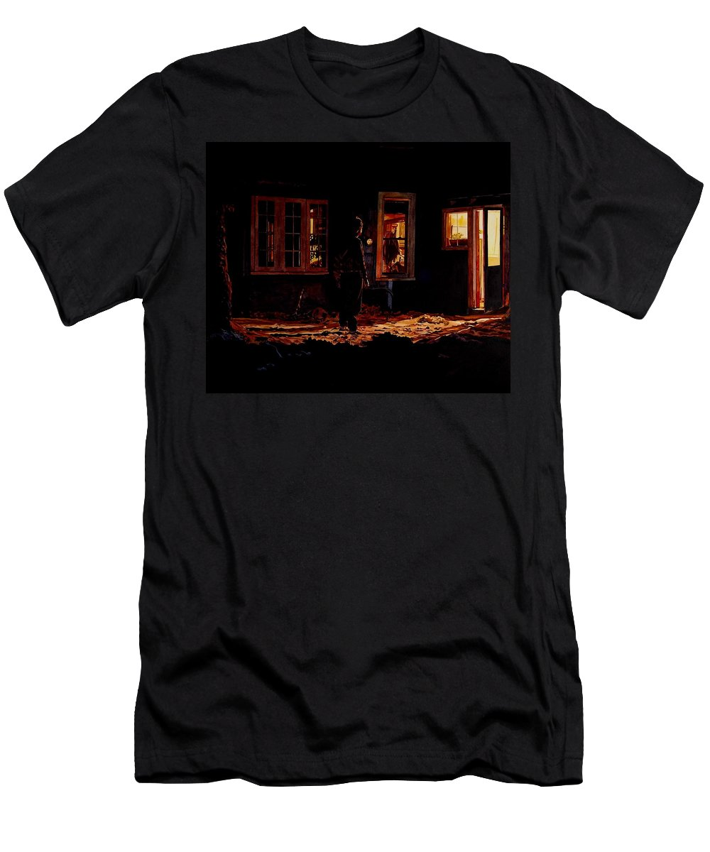 Night Men's T-Shirt (Athletic Fit) featuring the painting Into The Night by Valerie Patterson