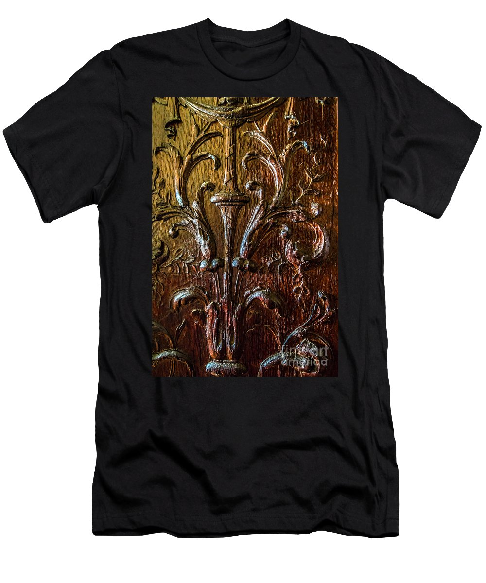 Wood Carving Men's T-Shirt (Athletic Fit) featuring the photograph Intricate Wood Carving On Wall Panel At Swannonoa 4407vt by Doug Berry