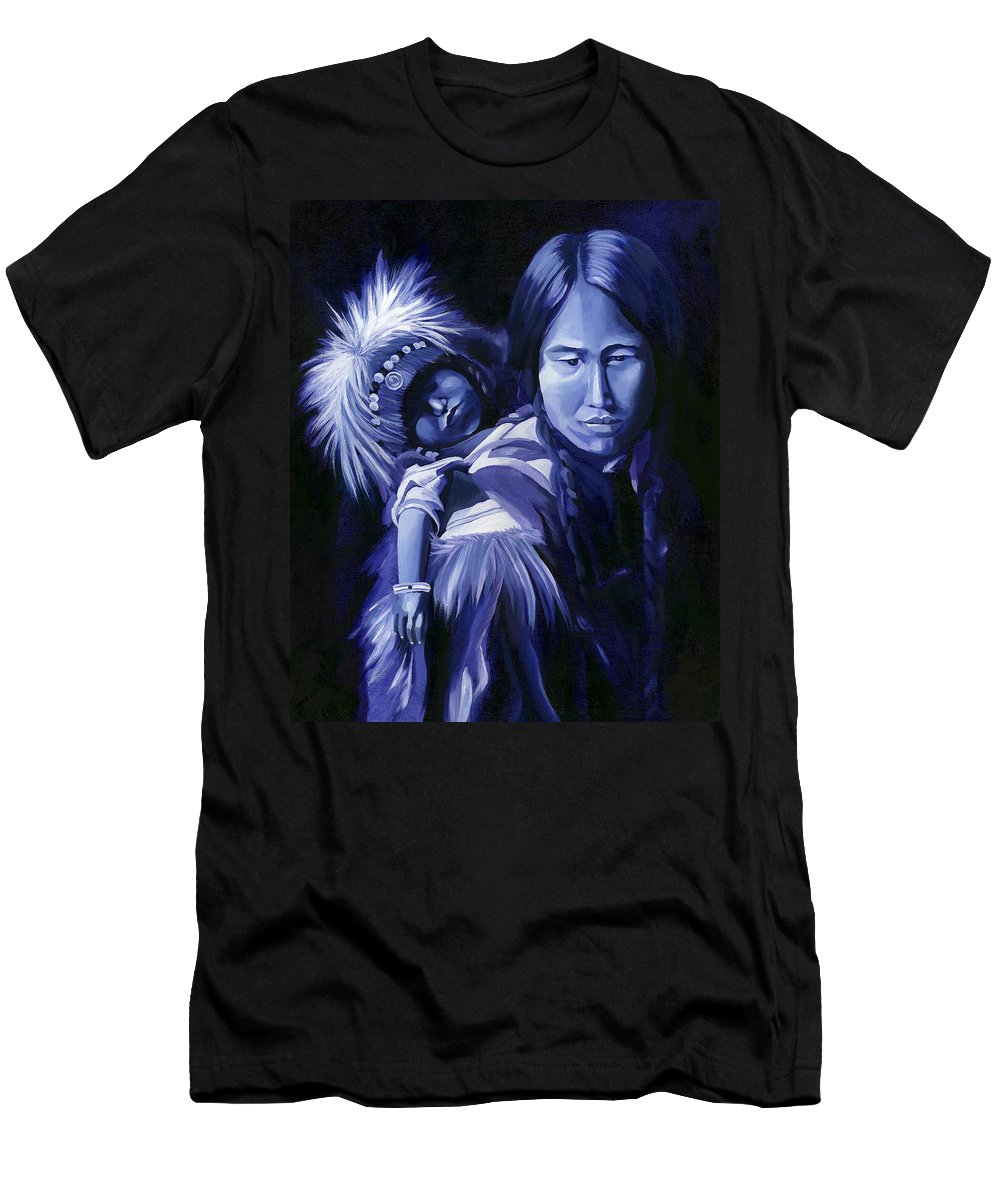 Native American Men's T-Shirt (Athletic Fit) featuring the painting Inuit Mother And Child by Nancy Griswold