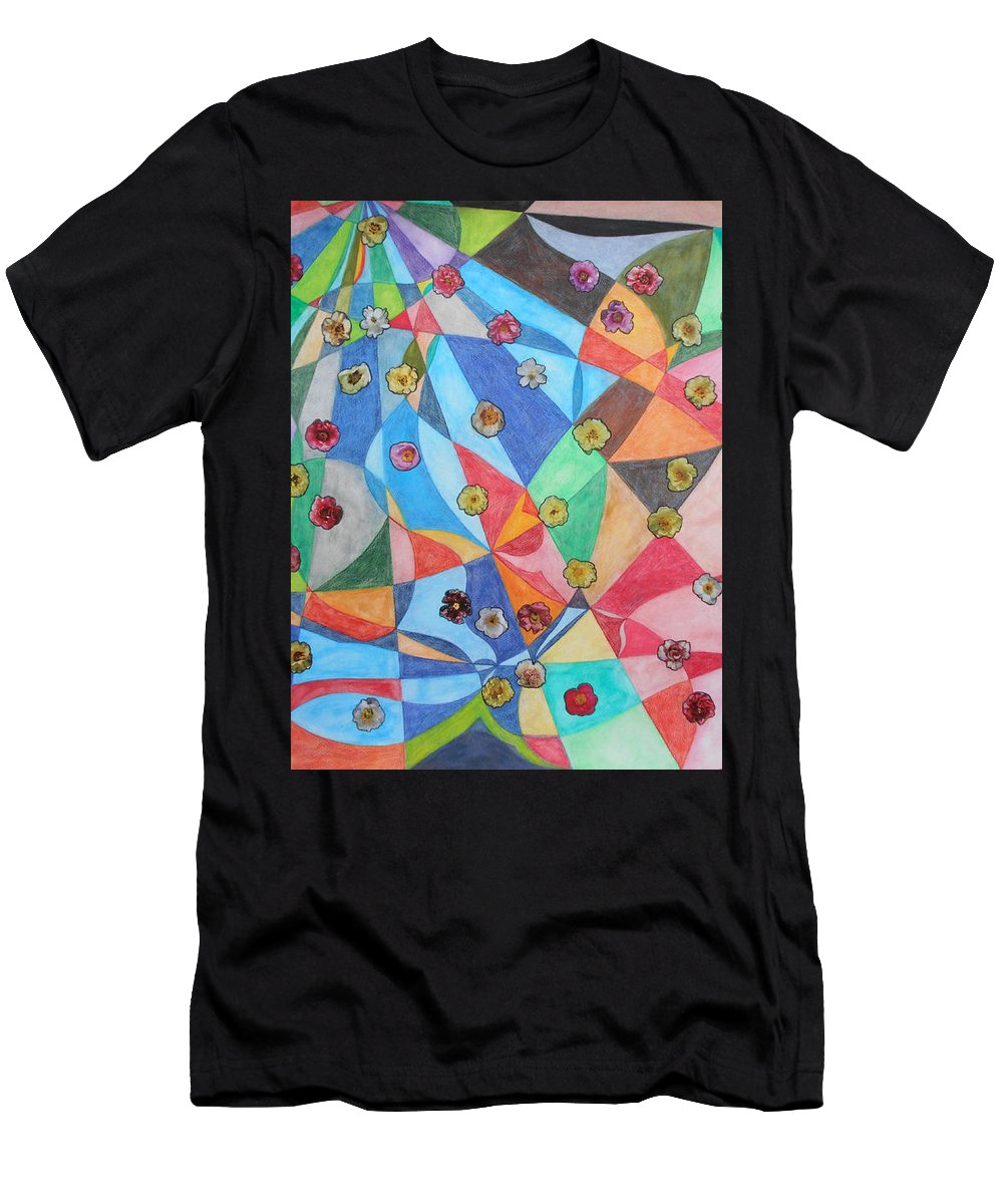 Flowers Peonies Color Geometric Design Multicolored Watercolor Painting Collage Conceptual Photography Pop Men's T-Shirt (Athletic Fit) featuring the painting Invasion Of The Peonies by Laura Joan Levine