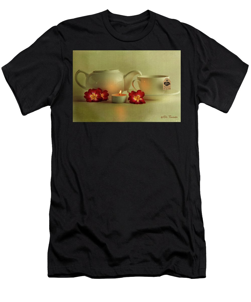 Tea Men's T-Shirt (Athletic Fit) featuring the photograph Invitation To Tea by Elmira Tissenko