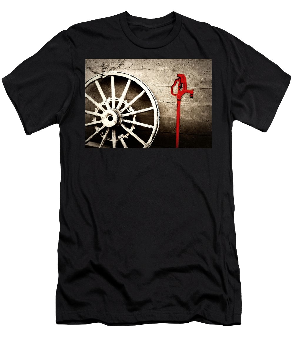 Barn Men's T-Shirt (Athletic Fit) featuring the photograph Iowa Hydrant by Julie Hamilton