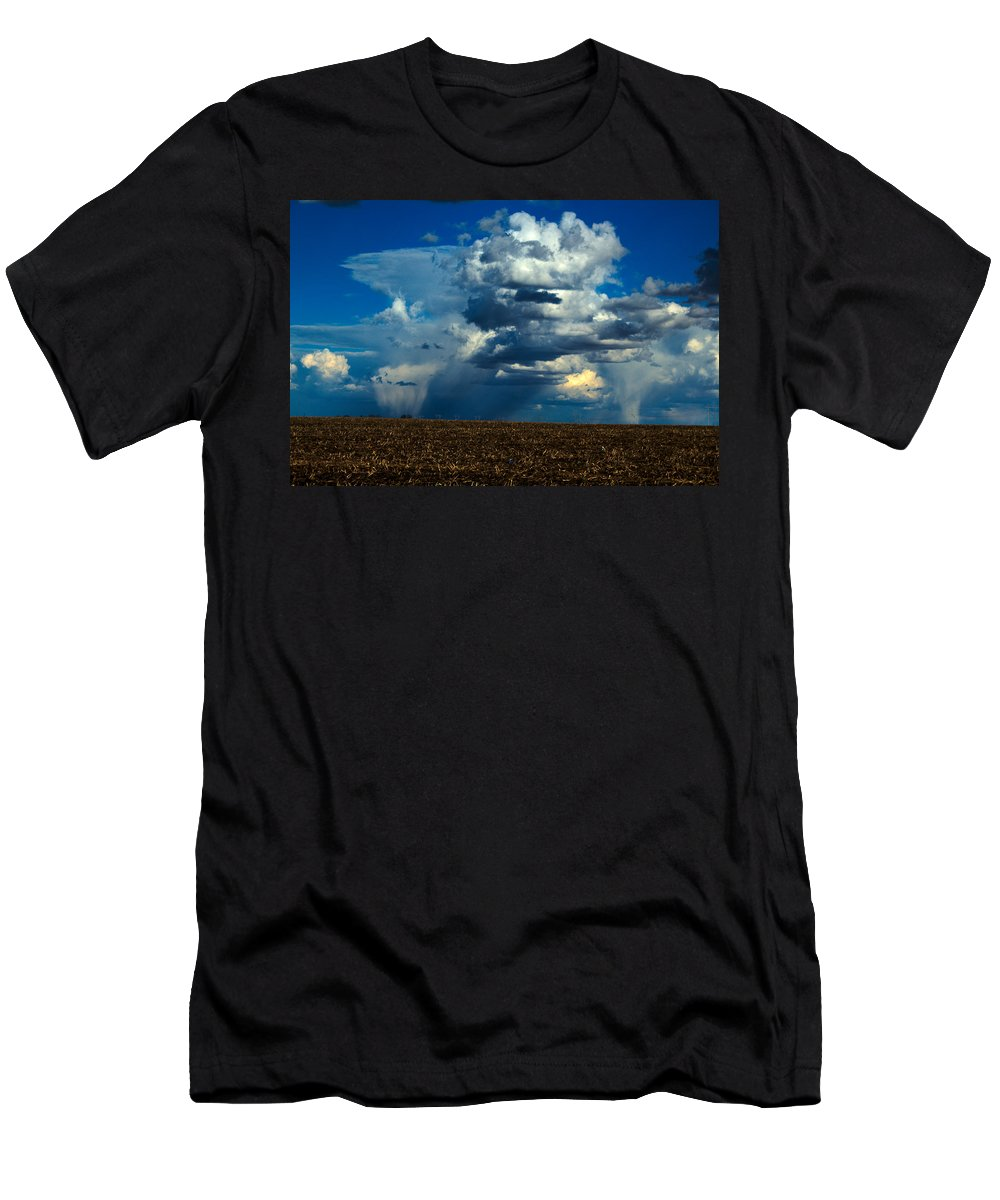 Iowa Men's T-Shirt (Athletic Fit) featuring the photograph Iowa Rain Clouds by Melissa Cory