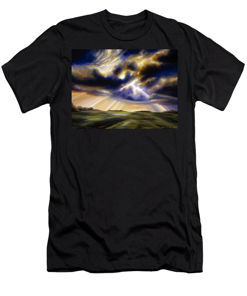 Sunrise; Sunset; Power; Glory; Cloudscape; Skyscape; Purple; Red; Blue; Stunning; Landscape; James C. Hill; James Christopher Hill; Jameshillgallery.com; Ocean; Lakes; Storms; Lightning; Rain; Rays; God T-Shirt featuring the painting Iowa Storms by James Christopher Hill