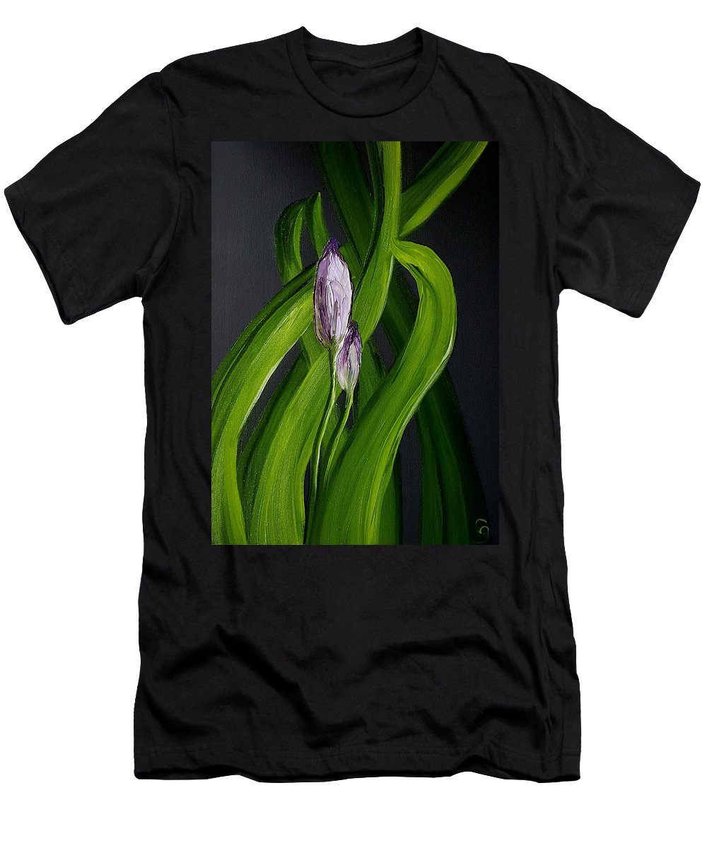 Iris Buds Men's T-Shirt (Athletic Fit) featuring the painting Iris Buds 49 by Cheryl Nancy Ann Gordon