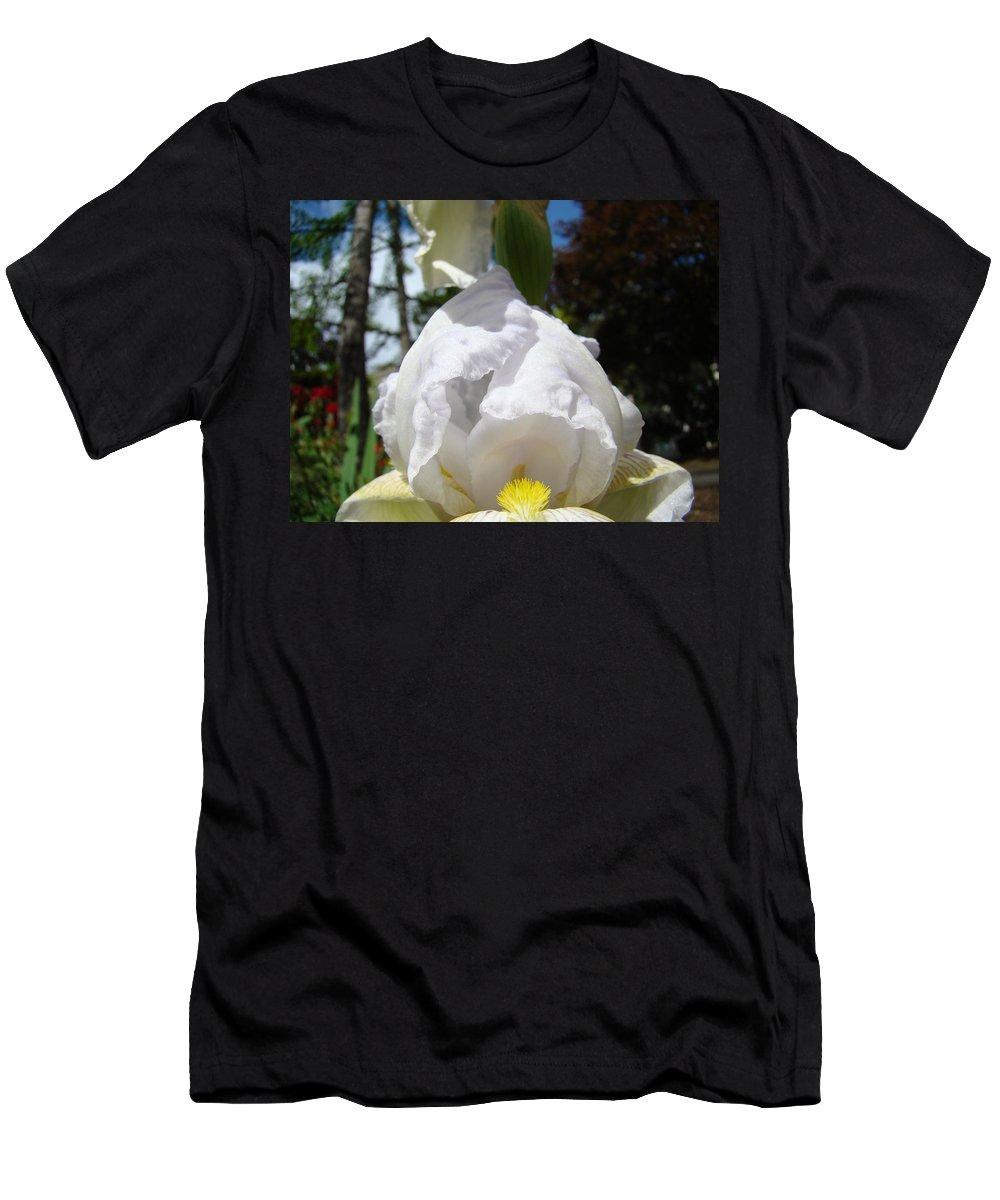 Iris Men's T-Shirt (Athletic Fit) featuring the photograph Iris Flower Art Print Canvas Friendship Park Mercy Medical Center by Baslee Troutman