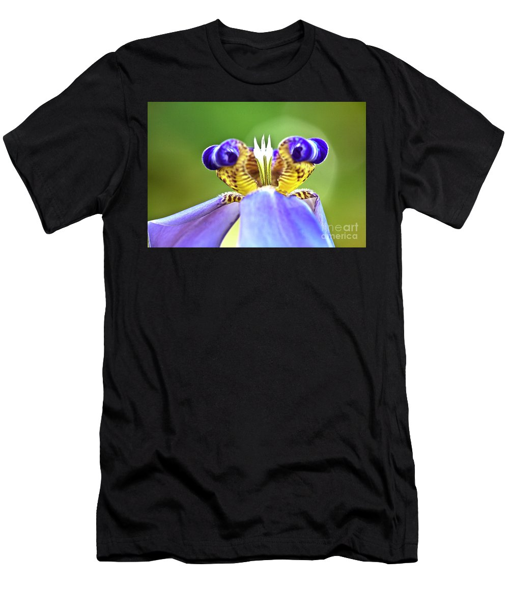 Macro Men's T-Shirt (Athletic Fit) featuring the photograph Iris Flower by Heiko Koehrer-Wagner
