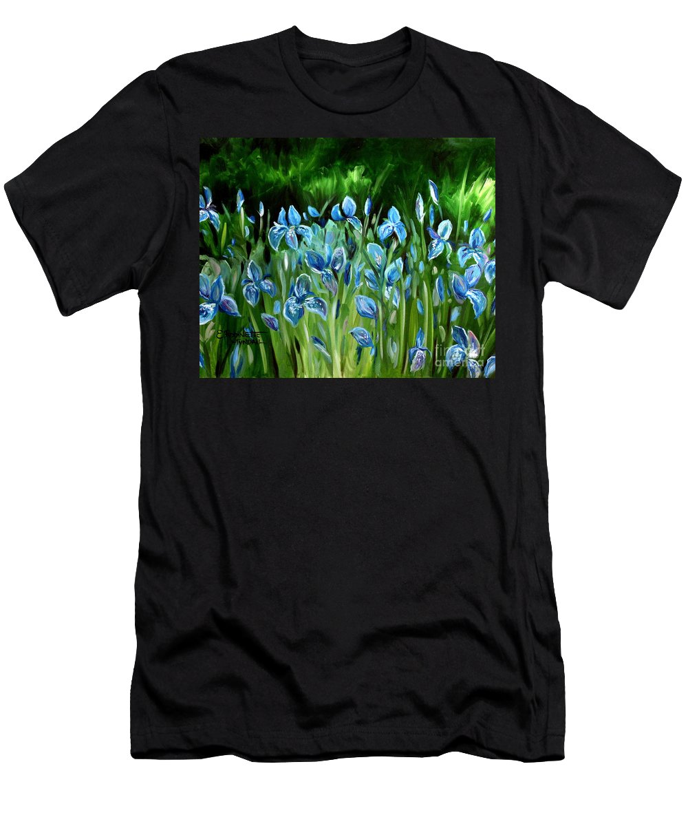 Flowers Men's T-Shirt (Athletic Fit) featuring the painting Iris Galore by Elizabeth Robinette Tyndall