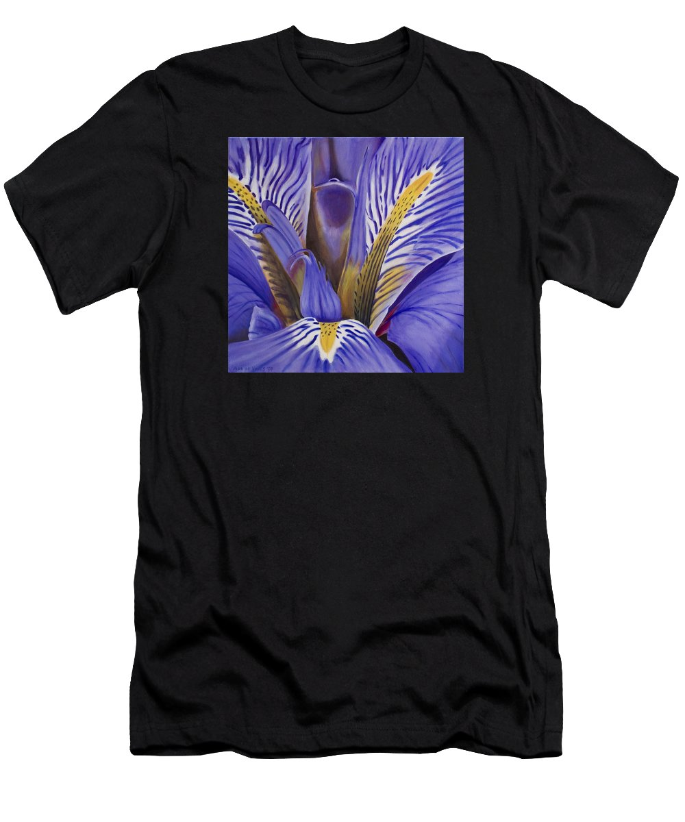Flower Men's T-Shirt (Athletic Fit) featuring the painting Iris by Rob De Vries