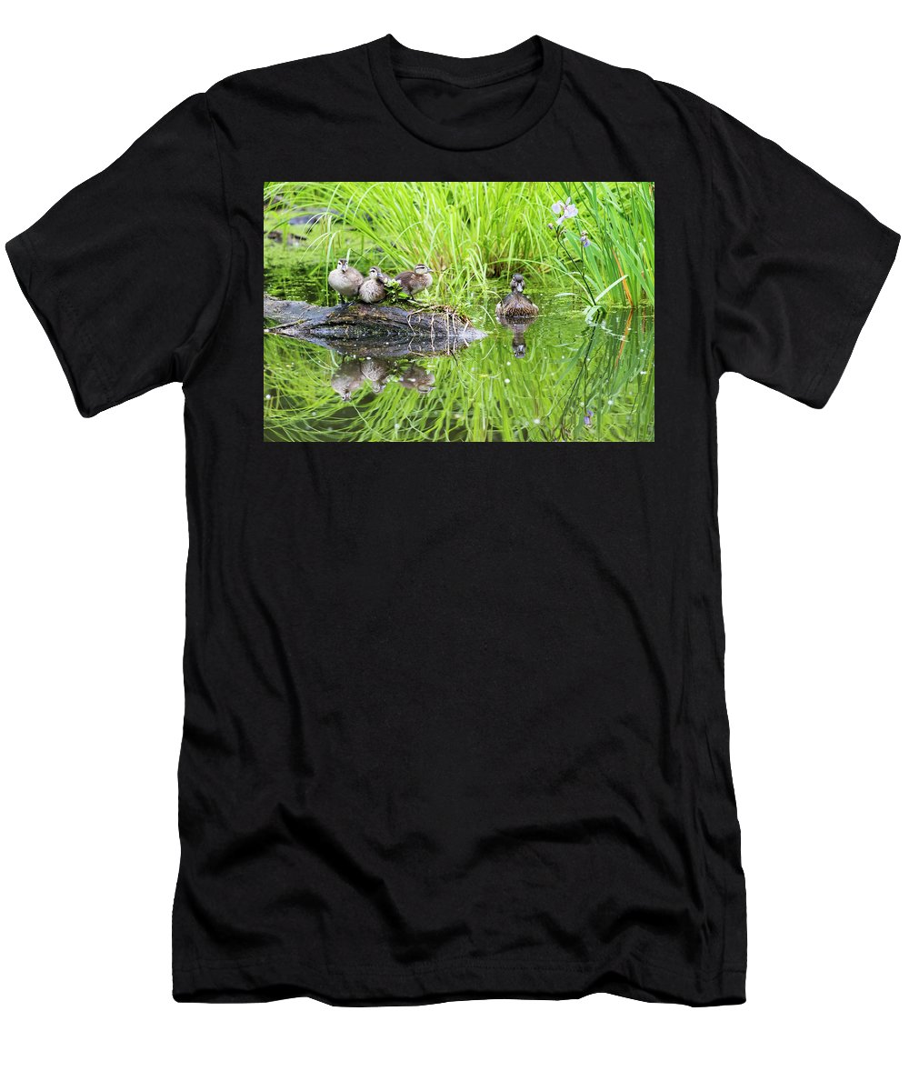 Babies Men's T-Shirt (Athletic Fit) featuring the photograph Iris Versicolor And Wood Duck Family by Mircea Costina Photography