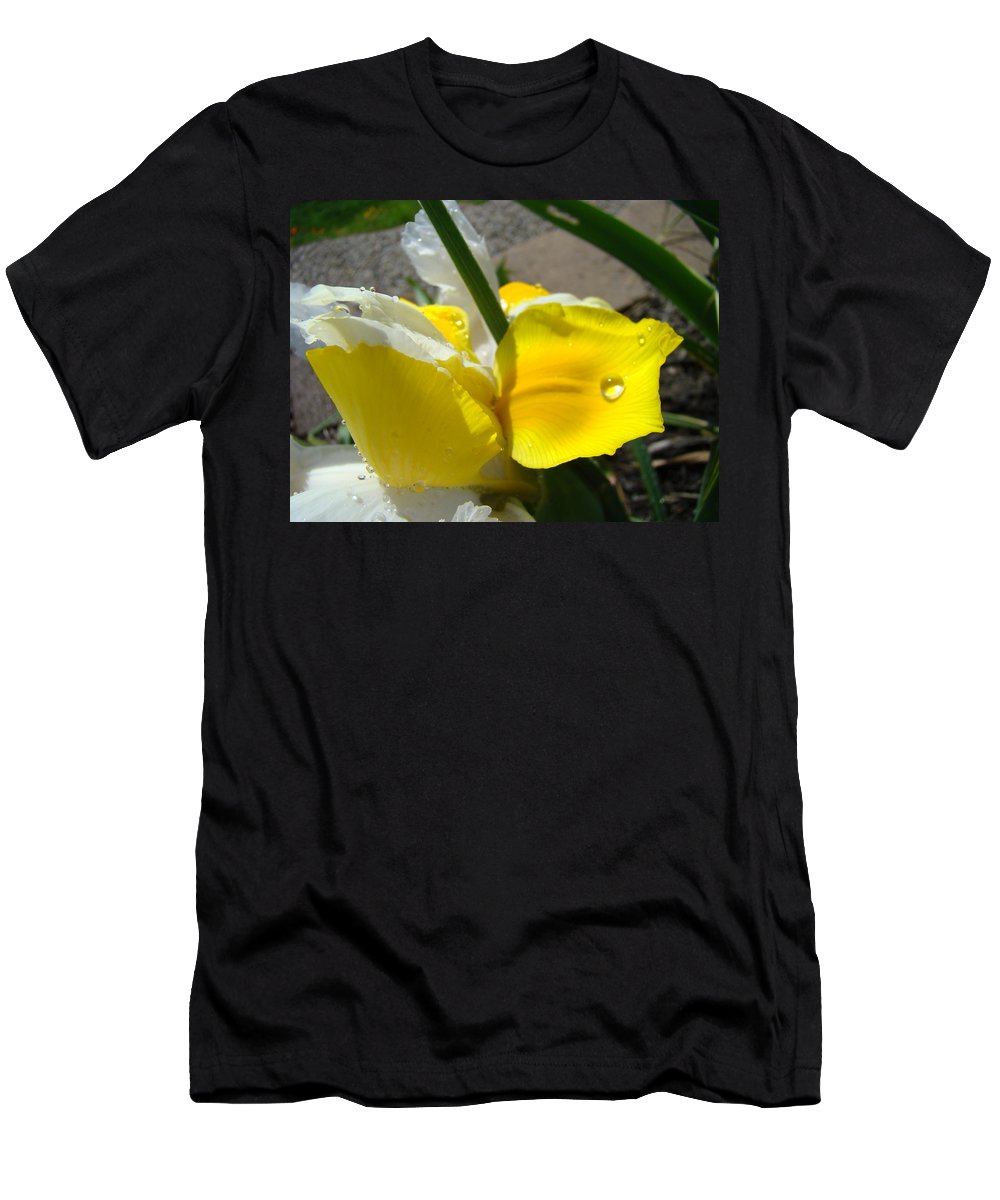 �irises Artwork� Men's T-Shirt (Athletic Fit) featuring the photograph Irises Artwork Iris Flowers Art Prints Flower Rain Drops Floral Botanical Art Baslee Troutman by Baslee Troutman