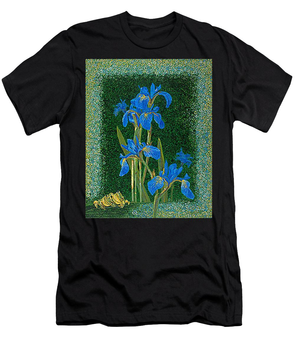 Irises T-Shirt featuring the painting Irises Blue Flowers Lucky Love Frog Friends fine art print giclee High Quality Exceptional Colors by Patti Baslee