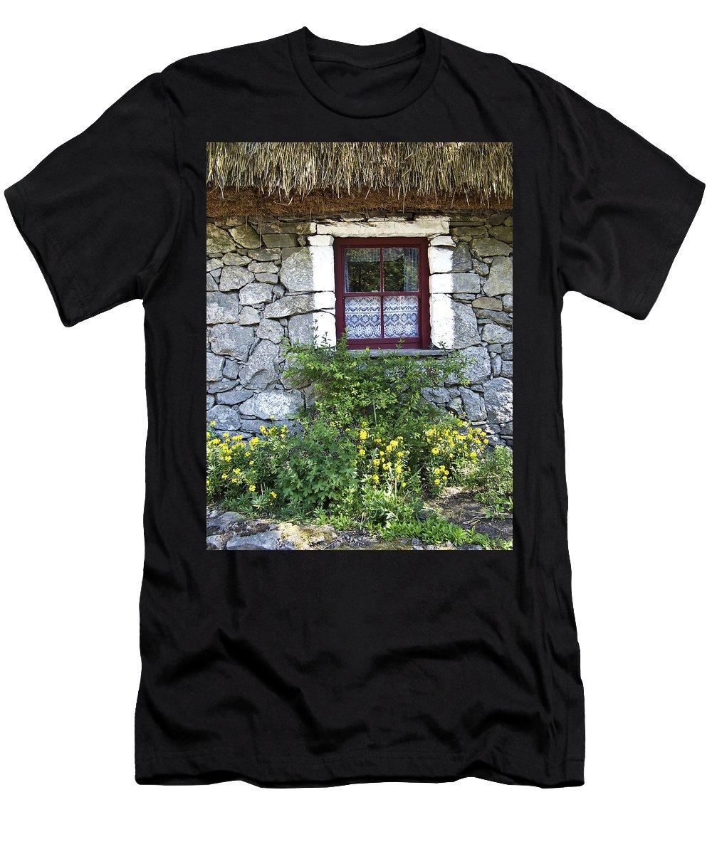 Irish Men's T-Shirt (Athletic Fit) featuring the photograph Irish Cottage Window County Clare Ireland by Teresa Mucha