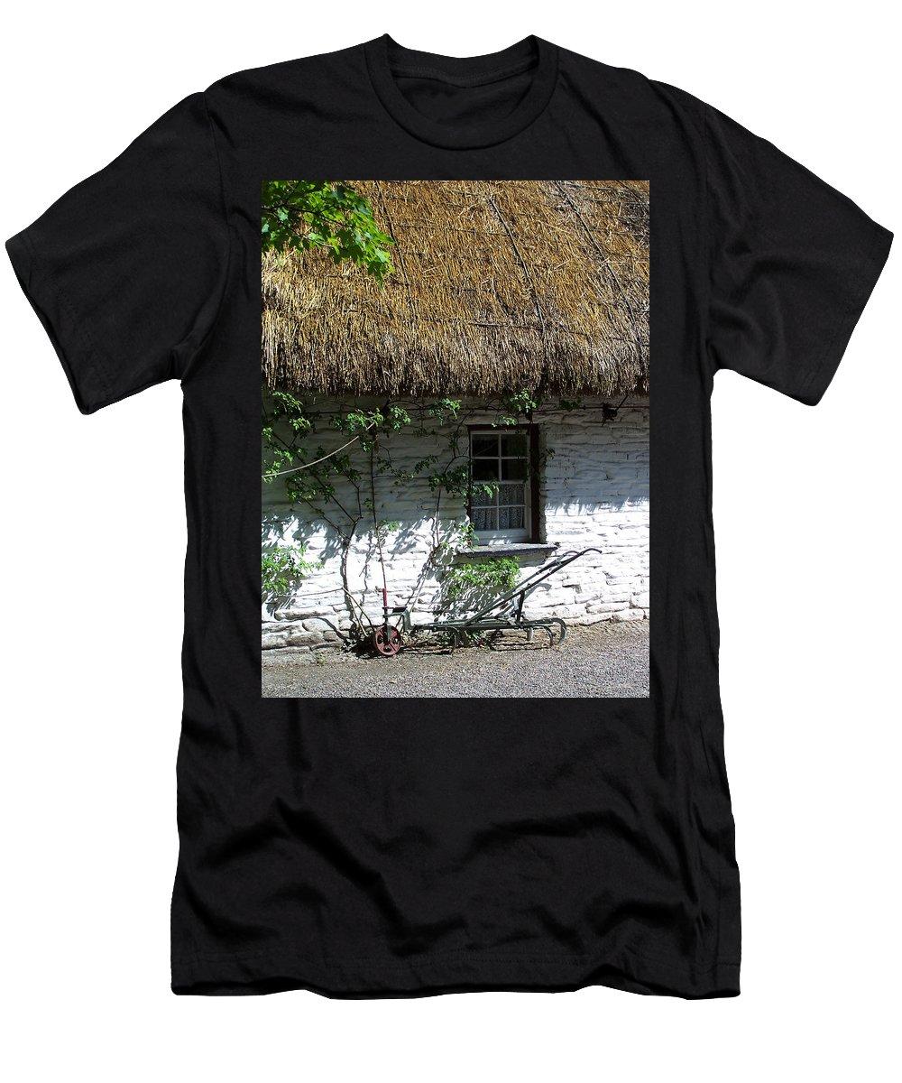 Irish Men's T-Shirt (Athletic Fit) featuring the photograph Irish Farm Cottage Window County Cork Ireland by Teresa Mucha