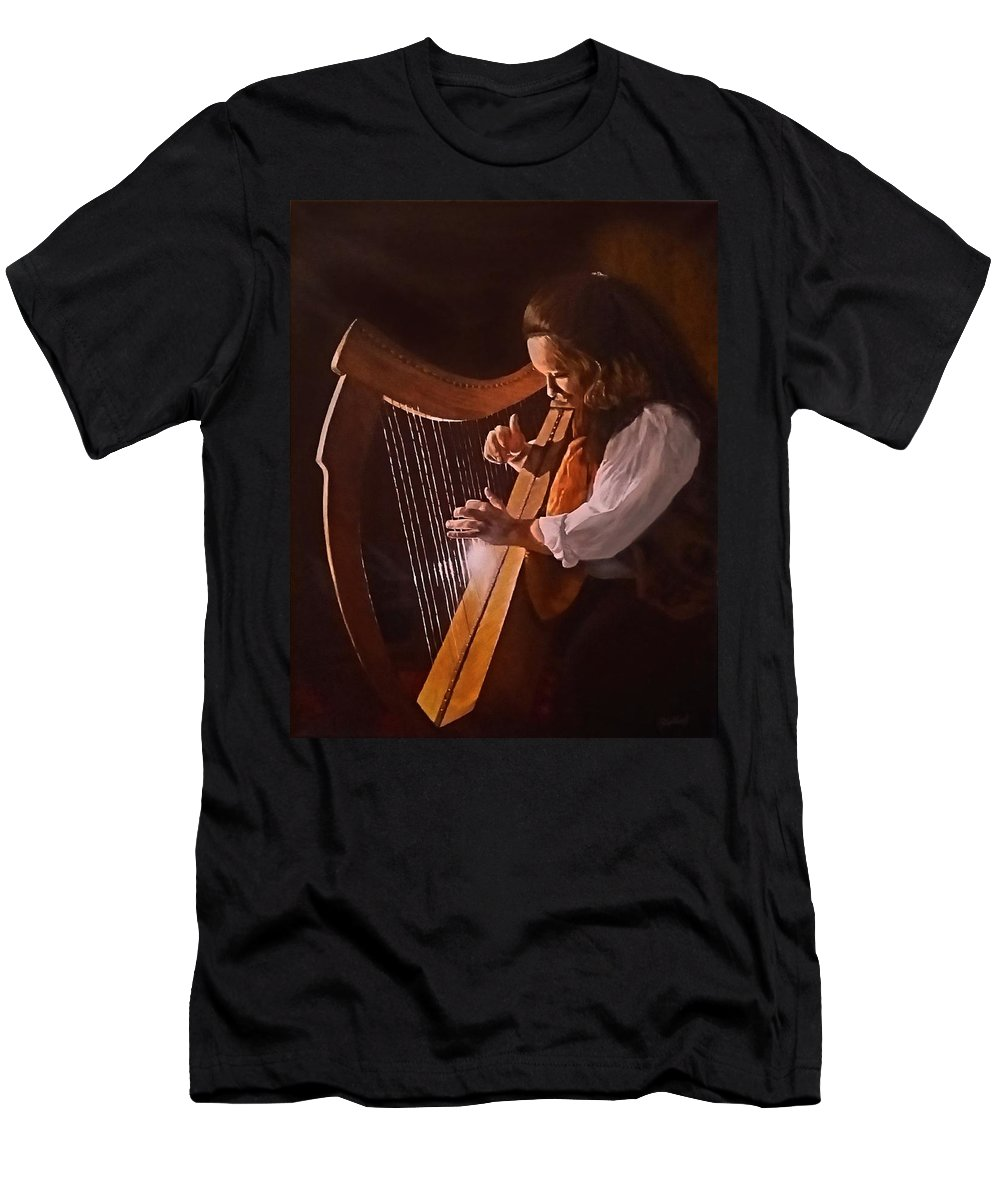Acrylic Men's T-Shirt (Athletic Fit) featuring the painting Irish Harp by Sheryl Gallant