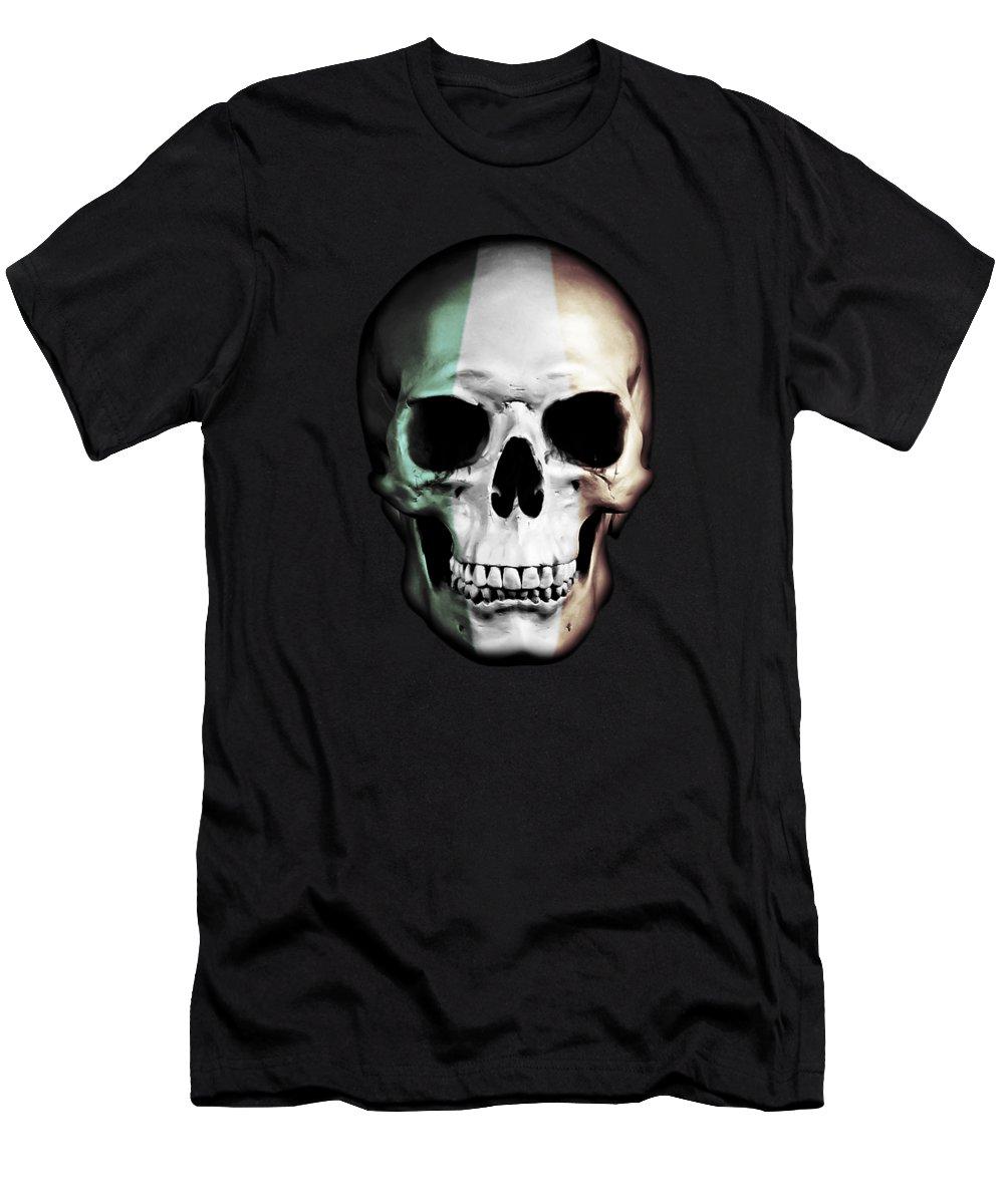 Skull Men's T-Shirt (Athletic Fit) featuring the digital art Irish Skull by Nicklas Gustafsson