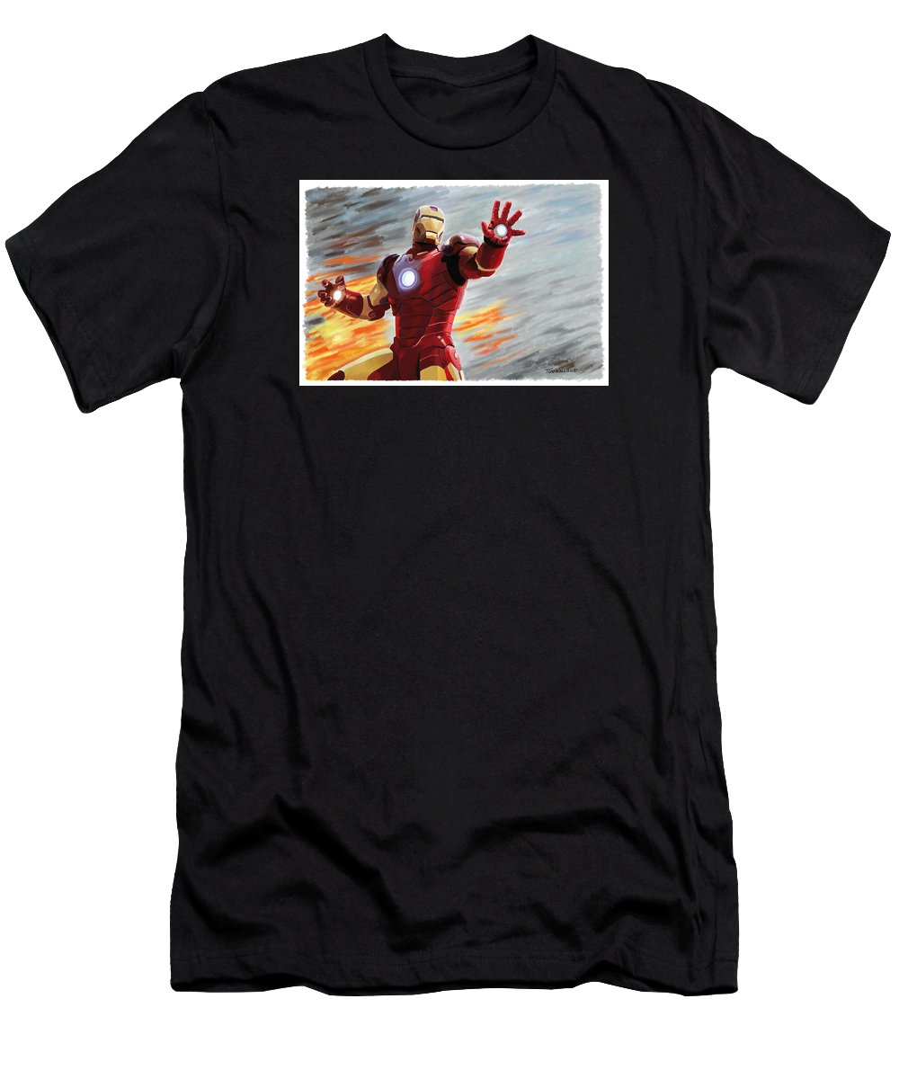 Iron Man Men's T-Shirt (Athletic Fit) featuring the painting Iron Man by Tod Wallace