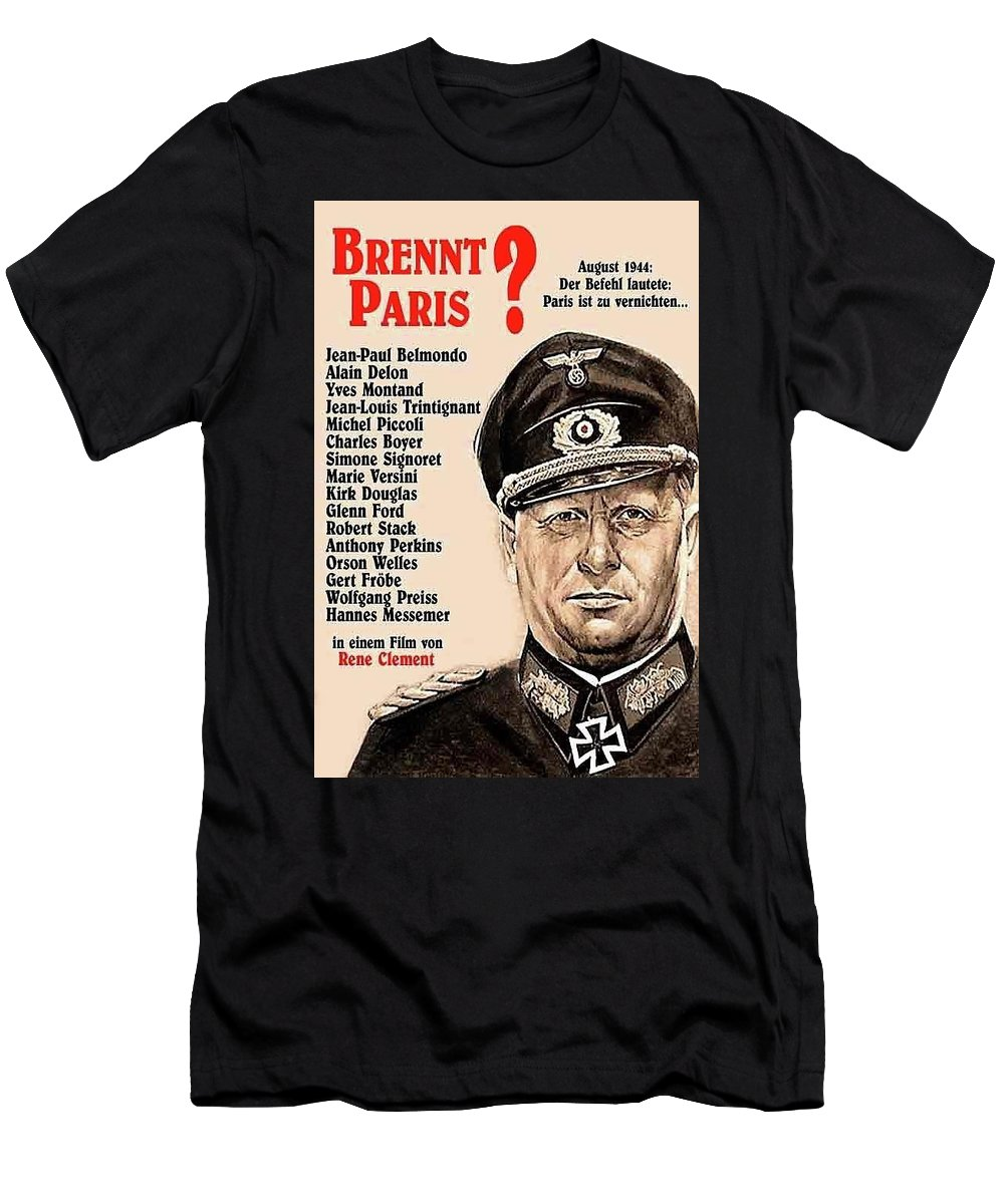 Is Paris Burning Gert Frobe As General Dietrich Von Chlitz German Theatrical Poster 1966 Men's T-Shirt (Athletic Fit) featuring the photograph Is Paris Burning Gert Frobe As General Dietrich Von Chlitz German Theatrical Poster 1966 by David Lee Guss