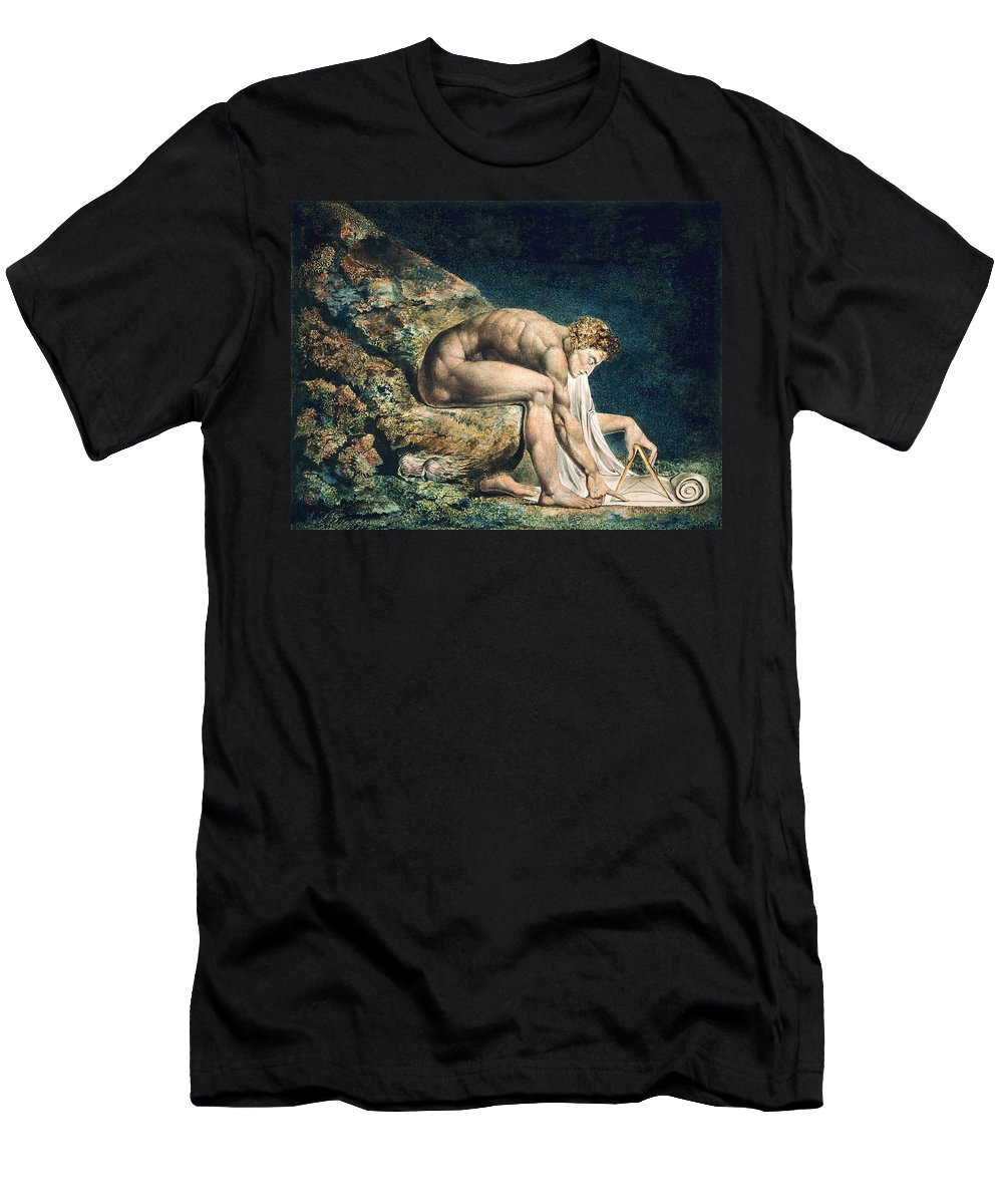 William Blake Men's T-Shirt (Athletic Fit) featuring the drawing Isaac Newton by William Blake
