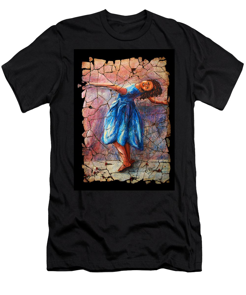 Isadora Duncan Men's T-Shirt (Athletic Fit) featuring the painting Isadora Duncan - 1 by OLena Art Brand