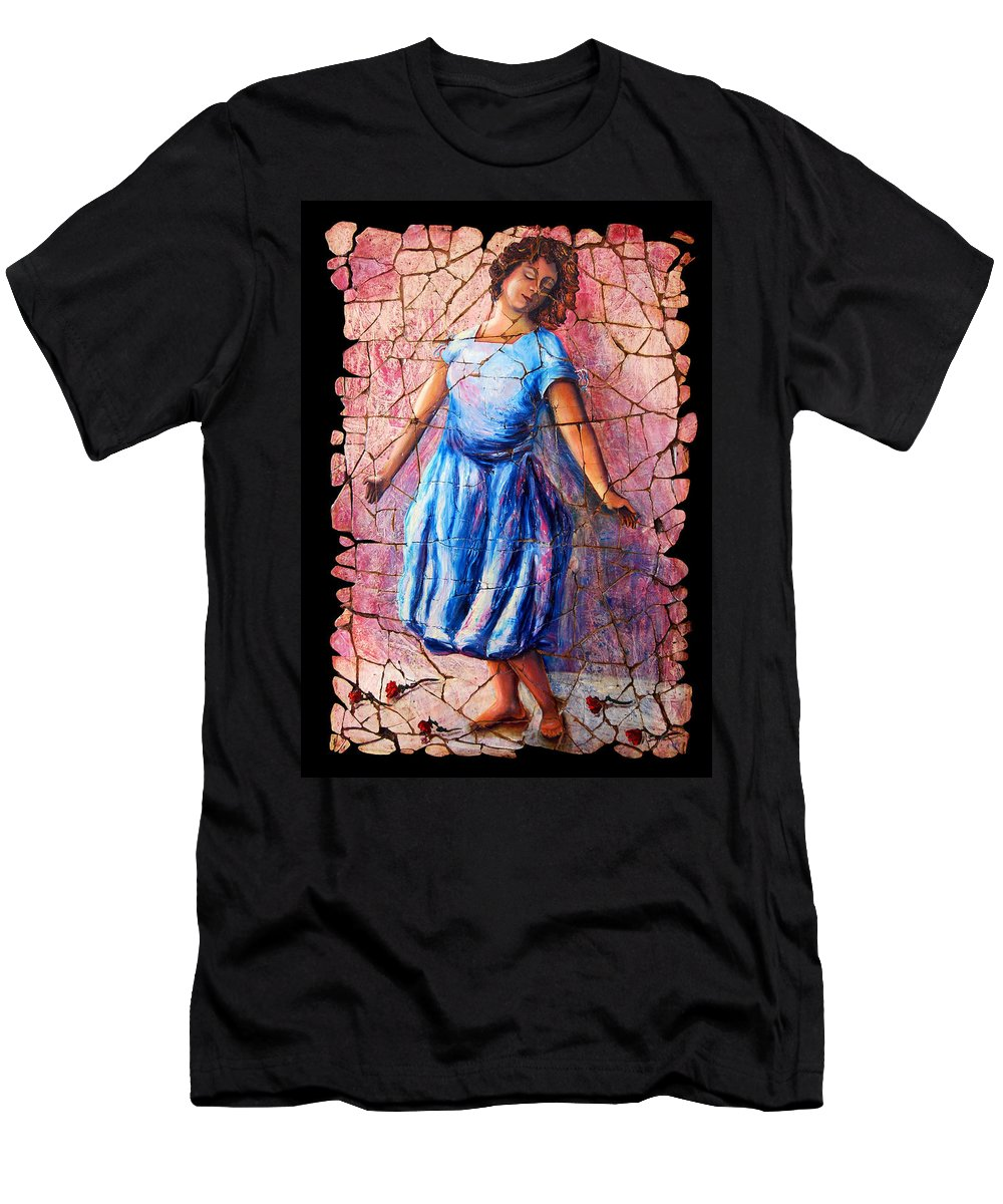 Isadora Duncan Men's T-Shirt (Athletic Fit) featuring the painting Isadora Duncan - 2 by OLena Art Brand
