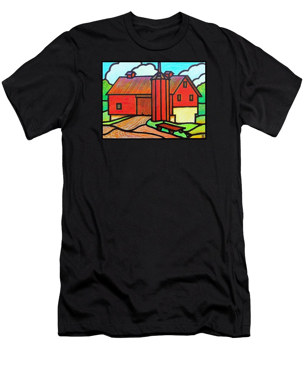 Barn Men's T-Shirt (Athletic Fit) featuring the painting Island Ford Barn 2 by Jim Harris