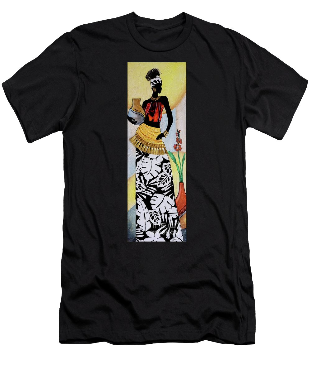 Lady T-Shirt featuring the painting Island Lady 1 by Marcella Muhammad