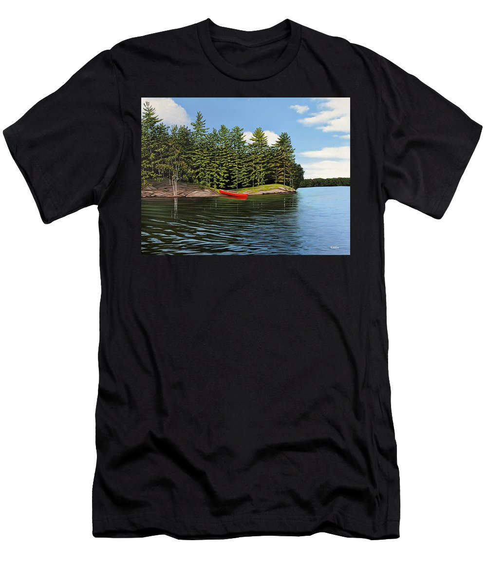 Island Men's T-Shirt (Athletic Fit) featuring the painting Island Retreat by Kenneth M Kirsch