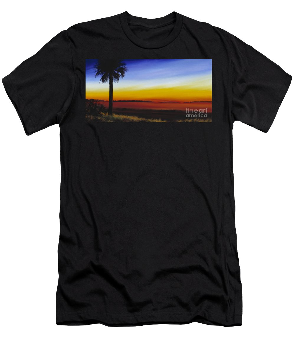 Palmetto Tree Men's T-Shirt (Athletic Fit) featuring the painting Island River Palmetto by James Christopher Hill