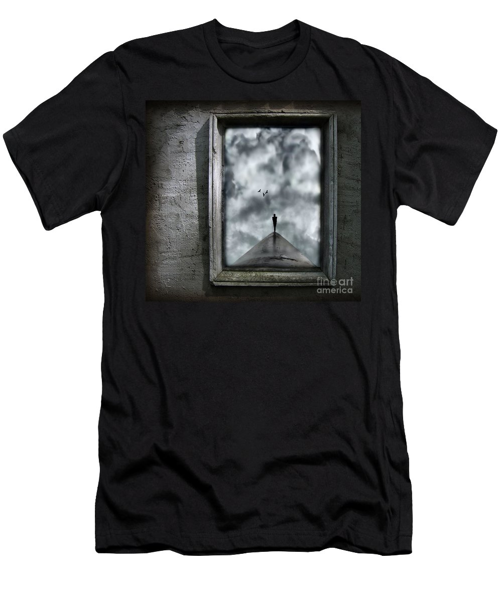 Dark Men's T-Shirt (Athletic Fit) featuring the painting Isolation by Jacky Gerritsen