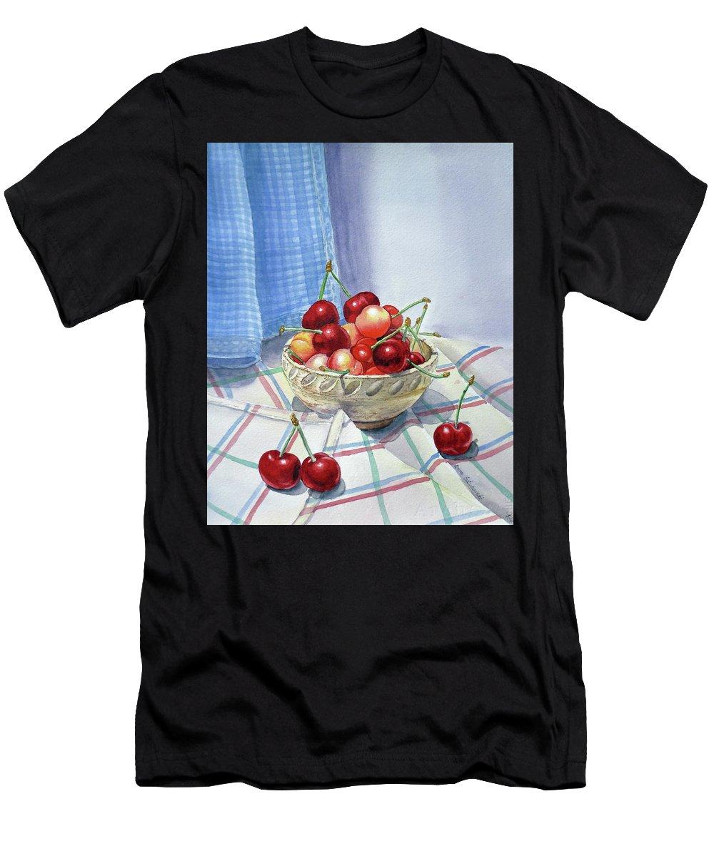 Cherries Men's T-Shirt (Athletic Fit) featuring the painting It Is Raining Cherries by Irina Sztukowski