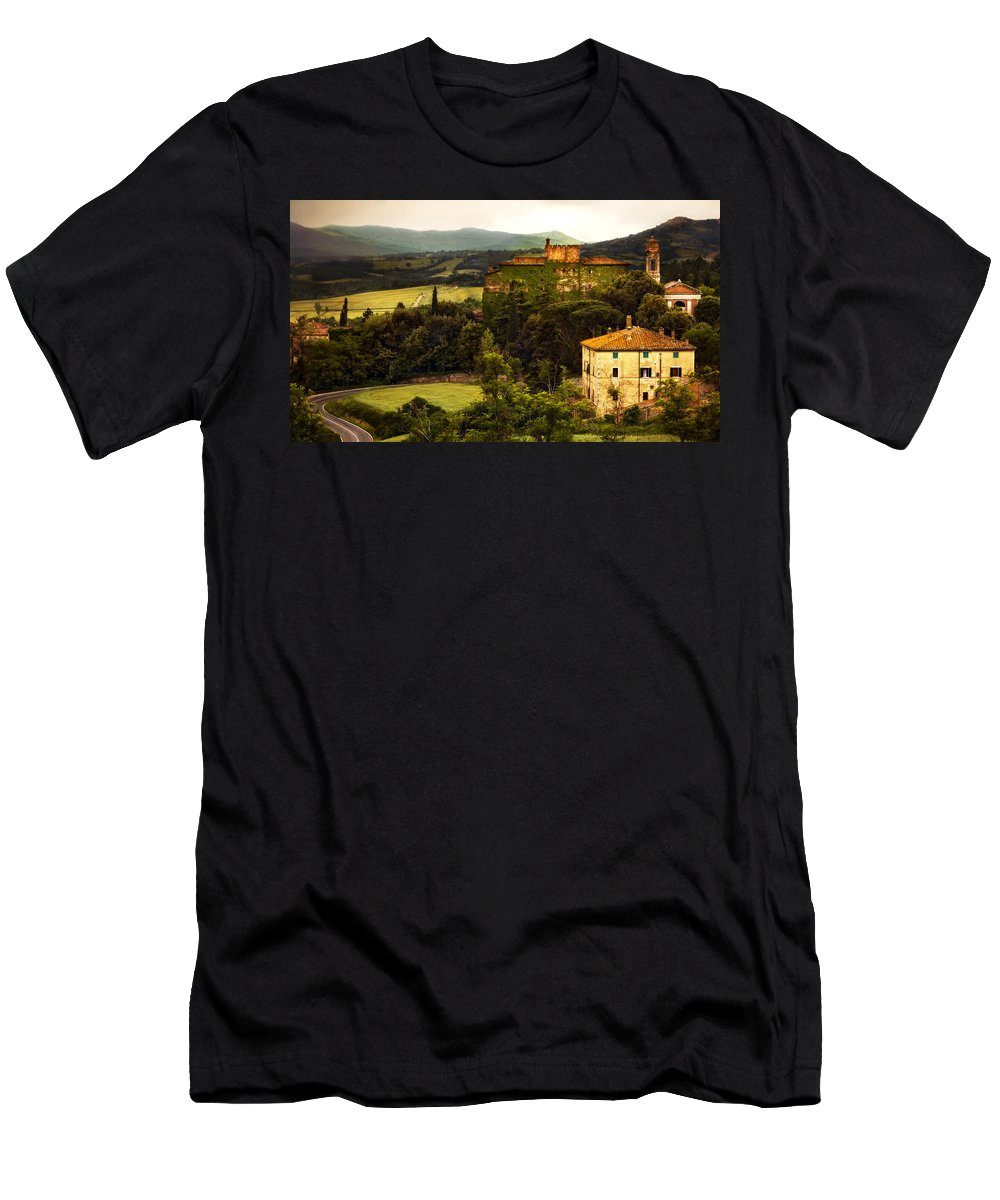Italy Men's T-Shirt (Athletic Fit) featuring the photograph Italian Castle And Landscape by Marilyn Hunt