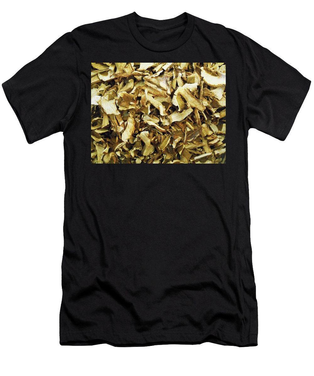Mushrooms Men's T-Shirt (Athletic Fit) featuring the pyrography Italian Market Dried Mushrooms by Irina Sztukowski
