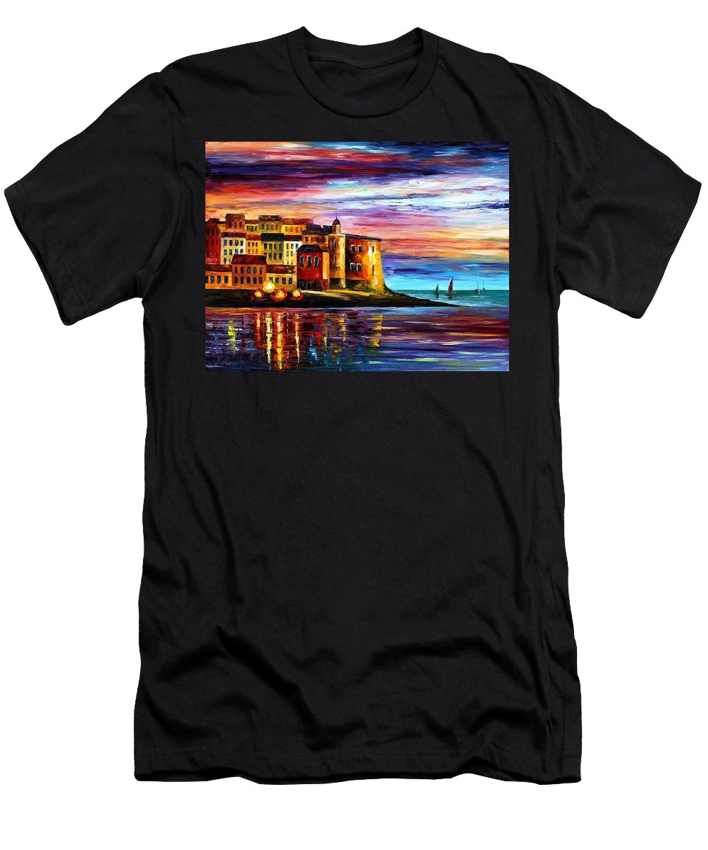 Afremov Men's T-Shirt (Athletic Fit) featuring the painting Italy - Liguria by Leonid Afremov