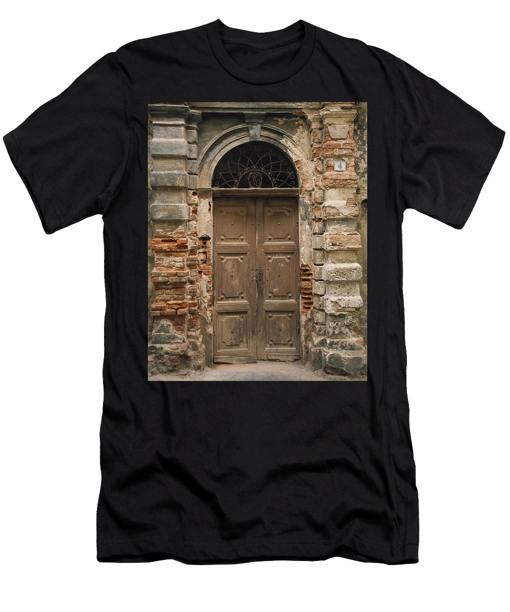 Europe Men's T-Shirt (Athletic Fit) featuring the photograph Italy - Door Four by Jim Benest