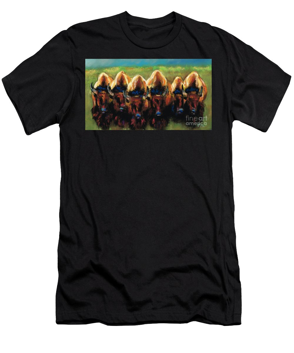 Bison Men's T-Shirt (Athletic Fit) featuring the painting Its All Bull by Frances Marino