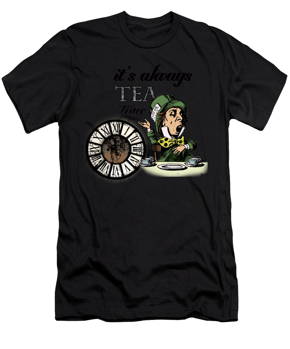 Bonkers T-Shirt featuring the digital art It's Always Tea Time Mad Hatter Dictionary Art by Anna W